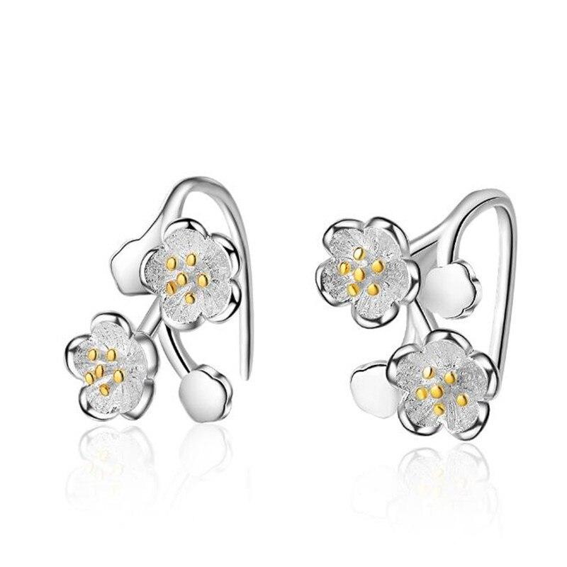 New Creative Beautiful Fashion Jewelry Ear Hook 925 Sterling Silver Cherry Blossoms Sweet Flower Dangle Earrings DE459