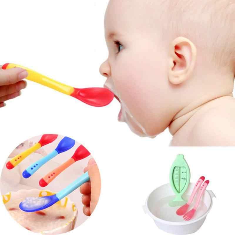 Colher de silicone macio para bebês, colher com sensor de temperatura, de cor pastel, utensílios de alimentação para crianças, ferramentas para alimentação de bebês, venda imperdível