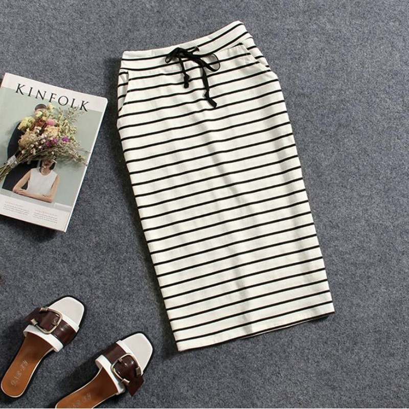 2021 Summer Pure Cotton Black And White Stripes Casual Pocket Mid-length Bag Hip Pencil One Step Half-length Skirt Ladies Skirt