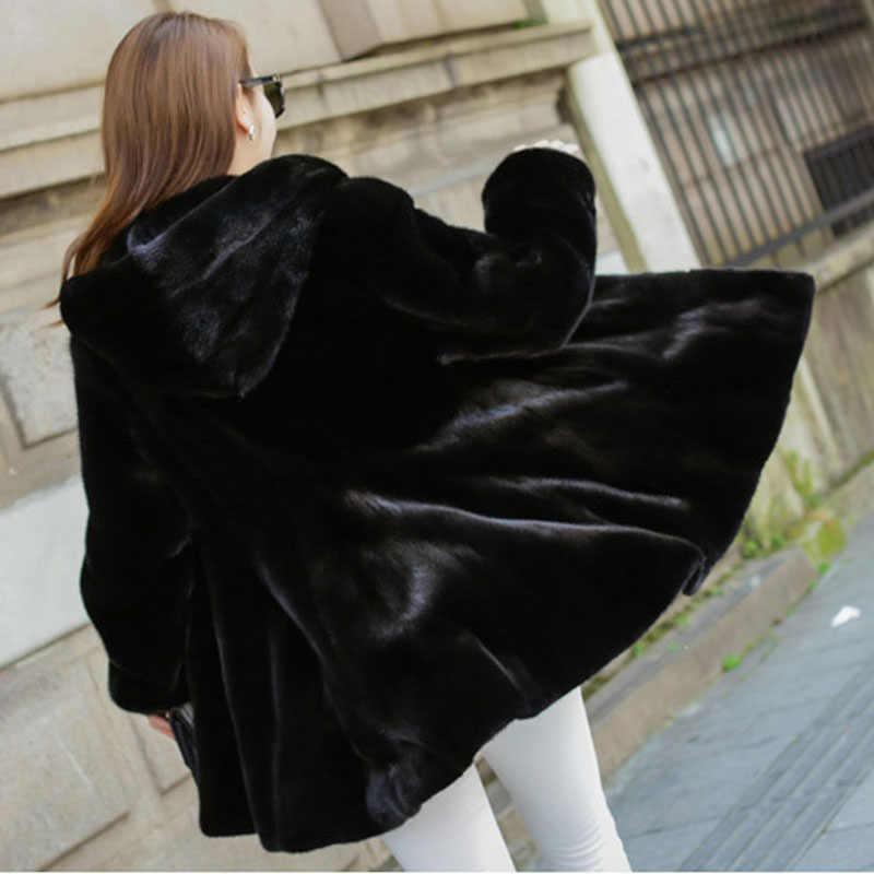 Artı boyutu 7XL 8XL kış yeni kapşonlu kürk giyim kadın moda katı kürk High-end sıcak vizon kürk ceket ceket kadın Parka
