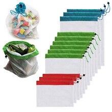 1 шт 3 размера многоразовая Сетчатая Сумка для производства моющиеся экологически чистые сумки для продуктовых сумок держатель фруктовый органайзер для овощей мешочек