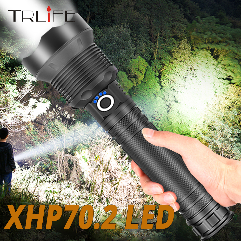 90000LMs Powerful LED Flashlight XHP70 XHP50 Rechargeable USB Zoom Torch XHP70.2 18650 26650 Self Defense Hunting Lamp