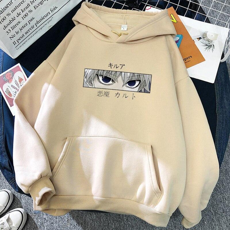 Женские толстовки Hunter X Hunter женские пуловеры толстовки свитшоты Killua Zoldyck принт дьявольский глаз худи в стиле аниме уличная одежда топы Ins