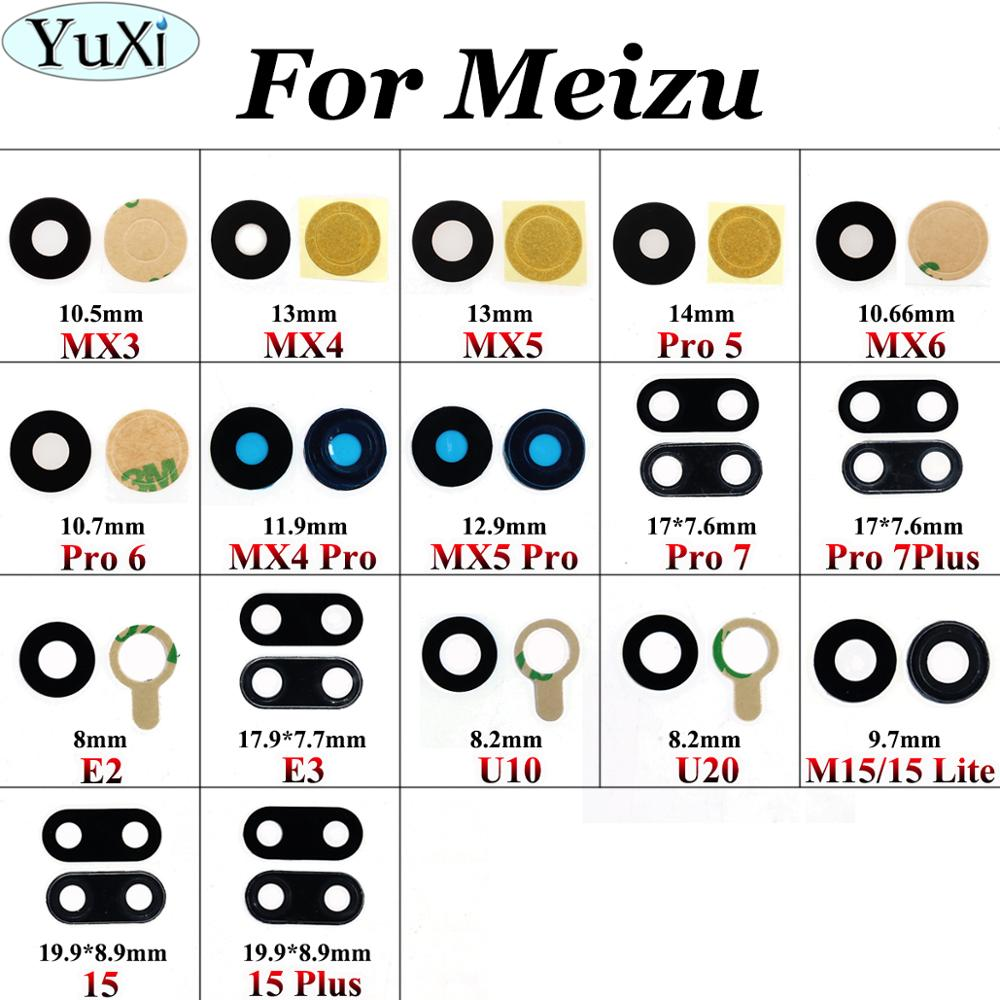 YuXi Camera Glass For Meizu MX3 MX4 MX5 Pro 5 6 7 Plus E2 E3 U10 U20 M15 Lite Plus Camera Glass Lens Housing Parts Replacement