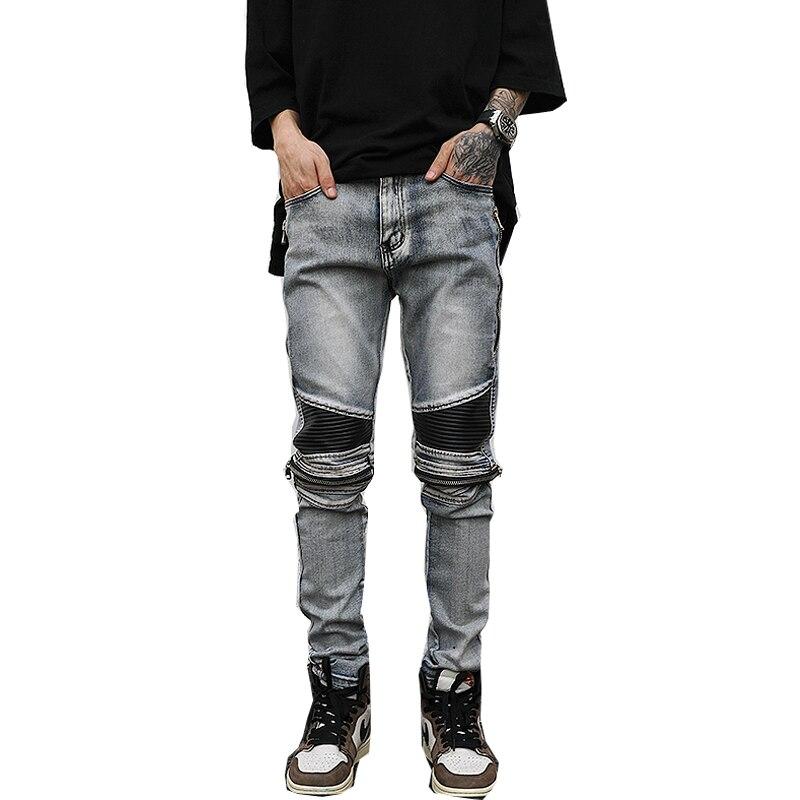 Street zippered motorcycle jeans men's slim denim stretch denim trousers motorcycle pants slim hip-hop pants