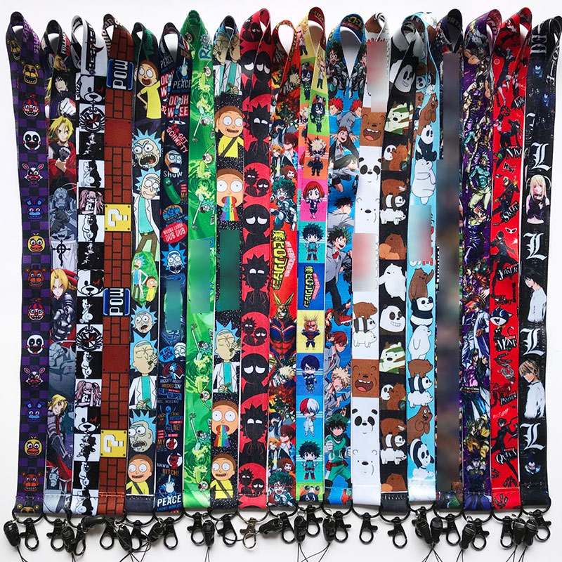 Anime Cartoon Neck Strap Lanyard My Hero Academia Danganronpa Persona P5 ID Badge Holder Keychain Lanyards