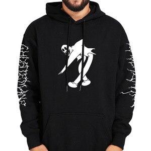 Image 4 - Ghostemane Hoodies Kwik Retrograde Afbeelding Gedrukt Sweatshirt Zwarte Lange Mouw Fluwelen Warme Zachte Hooded