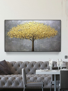 Image 5 - Unframed Hand Painted Knife Gold Tree Oil Painting On Canvas Large Palette 3D Paintings For Living Room Modern Abstract Wall Art