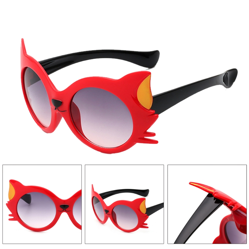 New Cute Cartoon Cat Anti UV400 Sun Glasses Kids Dresses Ornament For Girls