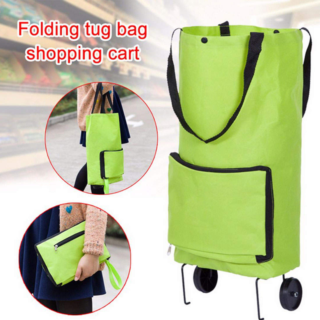 Shopping Lightweight Trolley Bag Folding Wheels Travel Portable Luggage Fashion