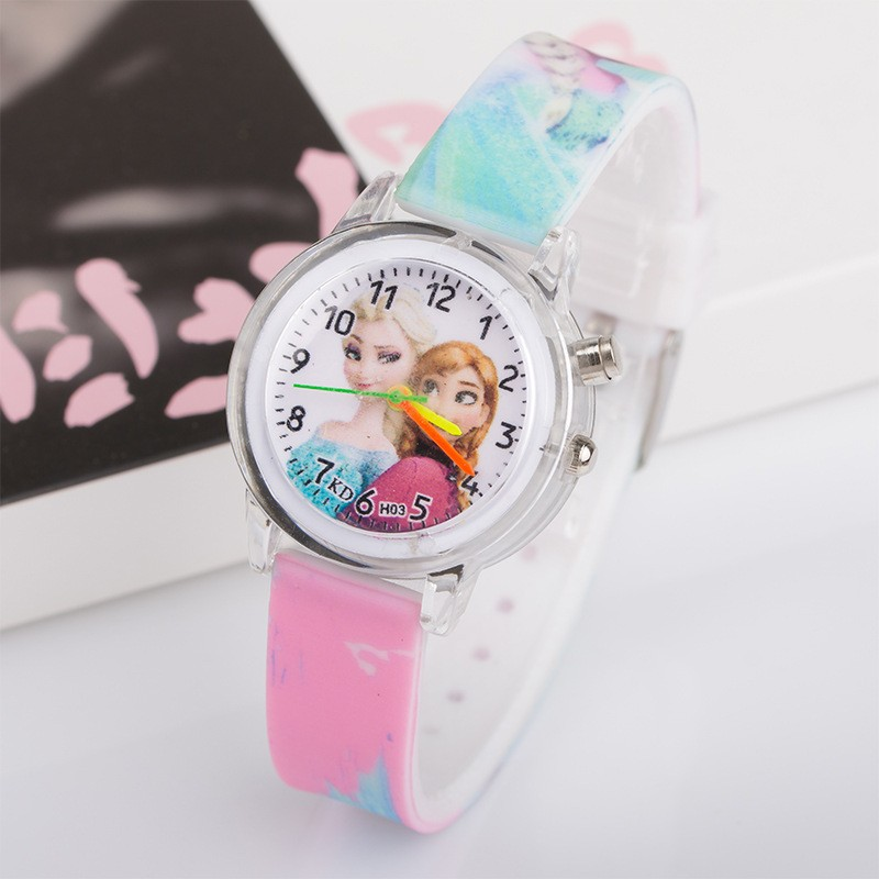 New Wholesale Princess Elsa Anna Children Kids Watches Colorful Light Source Boys Watch Girls Kids Party Gift Wrist Relogio