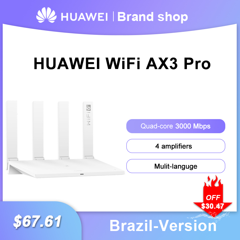 Brazil Version HUAWEI WiFi AX3 Pro Four Amplifiers 3000 Mbps AX3 Quad Core WiFi 6+ Wireless Router WiFi 5 GHz Repeater Dual-Band