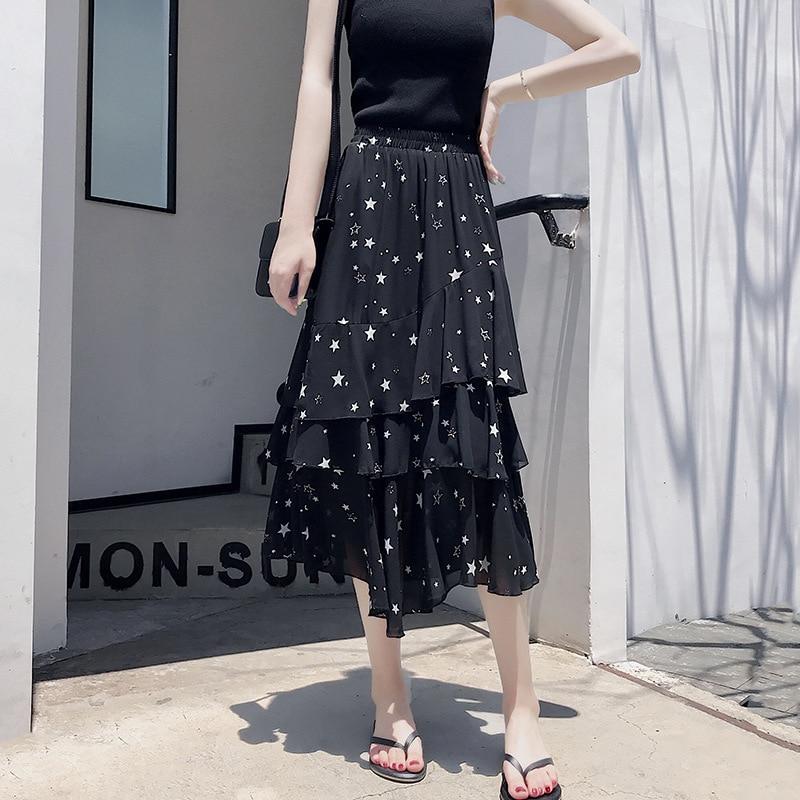 Summer New Style Cake Dress Skirt Women's 2019 High-waisted Mid-length Chiffon Asymmetric Skirt Multi-Level Skirt