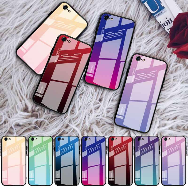 Gradient Protective Glass Case for iPhone 11 Pro Max 7 8 Plus Xs Max 6S 6 Plus Xr Tempered Glass Coque for iPhone X Cover Case