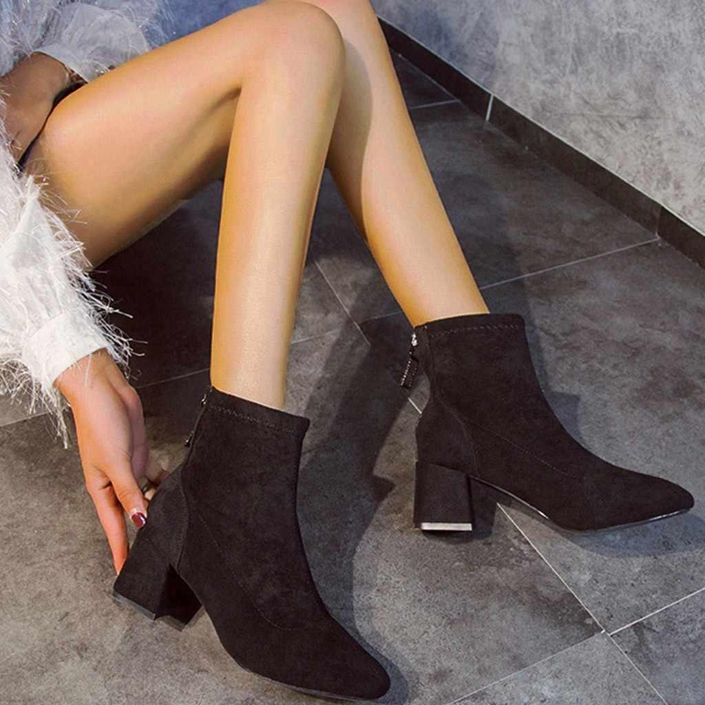 คริสตัล Padent รองเท้าบูทแฟชั่นฤดูใบไม้ร่วงฤดูหนาวเซ็กซี่รอบนิ้วเท้าสีสูงรองเท้าส้นสูงข้อเท้ารองเท้า Botines Mujer 2019