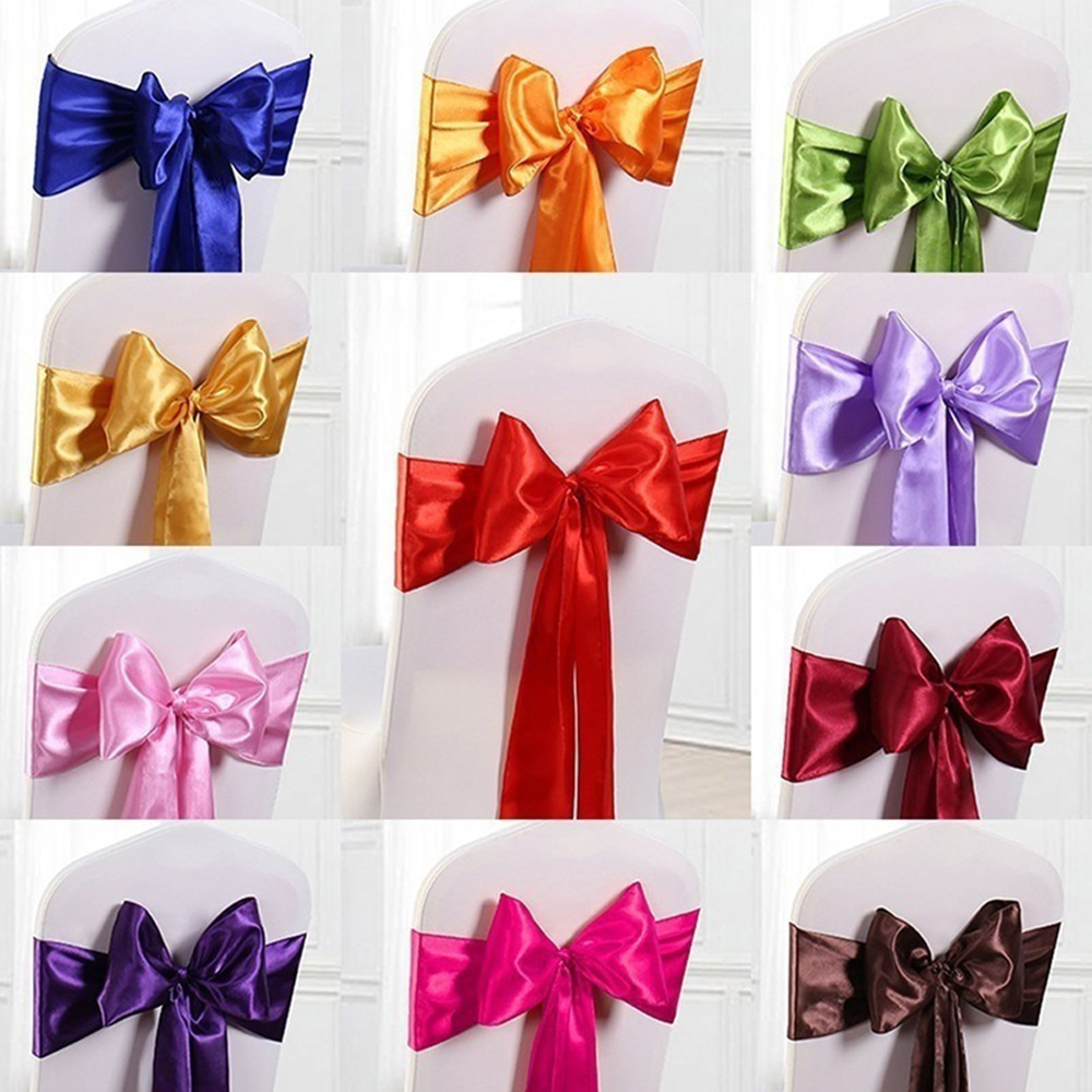25pcs/Lot Satin Chair Sashes 280*14cm Bow Tie Chair Sash Band For Banquet Weeding Table Decoration For Weddings Party Supplies