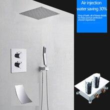 16 Cal prysznic termostatyczny wodospad deszczownica z mosiądzu bateria do łazienki z/bez ramię prysznicowe