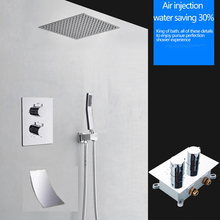 16 Inch Shower Thermostatic Waterfall Rain Shower Head Solid Brass Bathroom Faucet  With/Without Shower Arm