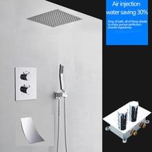 16 inç duş termostatik şelale yağmur biçimli duş kafa katı pirinç banyo bataryası/olmadan duş kolu