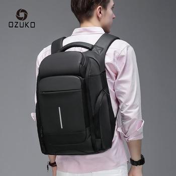 "OZUKO Men's Multifunction PVC Waterproof Backpack 15.6"" Laptop Backpacks Male Large Capacity Casual Business Travel Bag mochila"