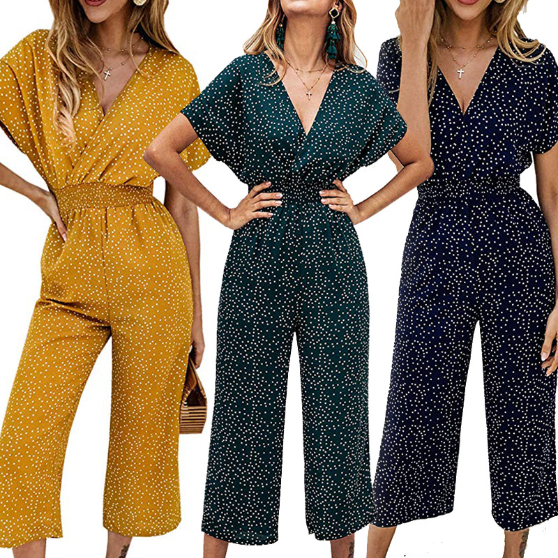 Europe and the United States new fashion temperament women's elastic waist loose casual print nine points jumpsuit