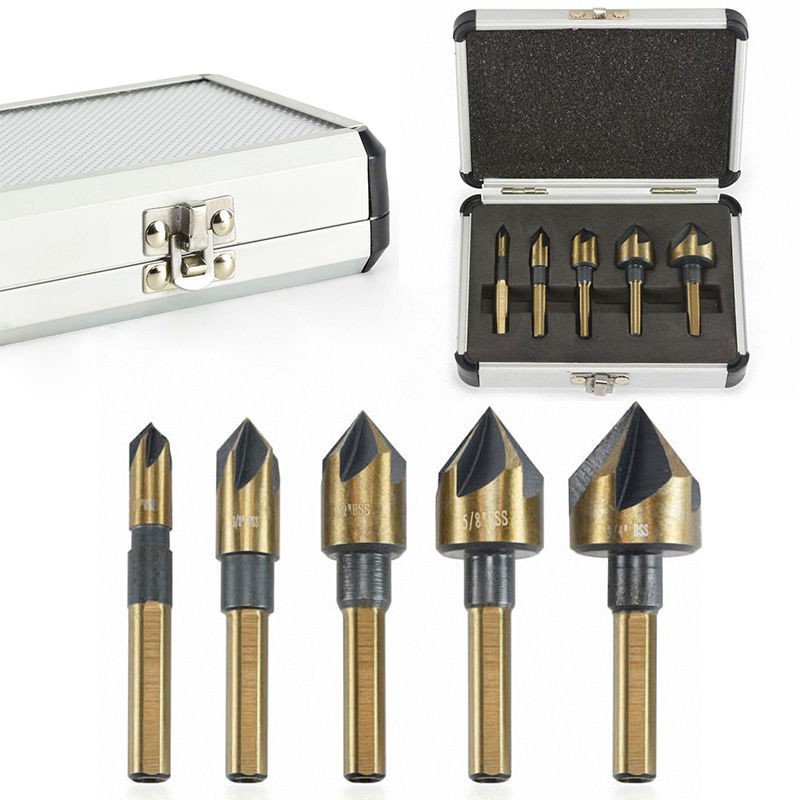 5Pcs/Set Industrial Countersink Drill Bit Tri-Flat Shank Quick Change Kit Tool