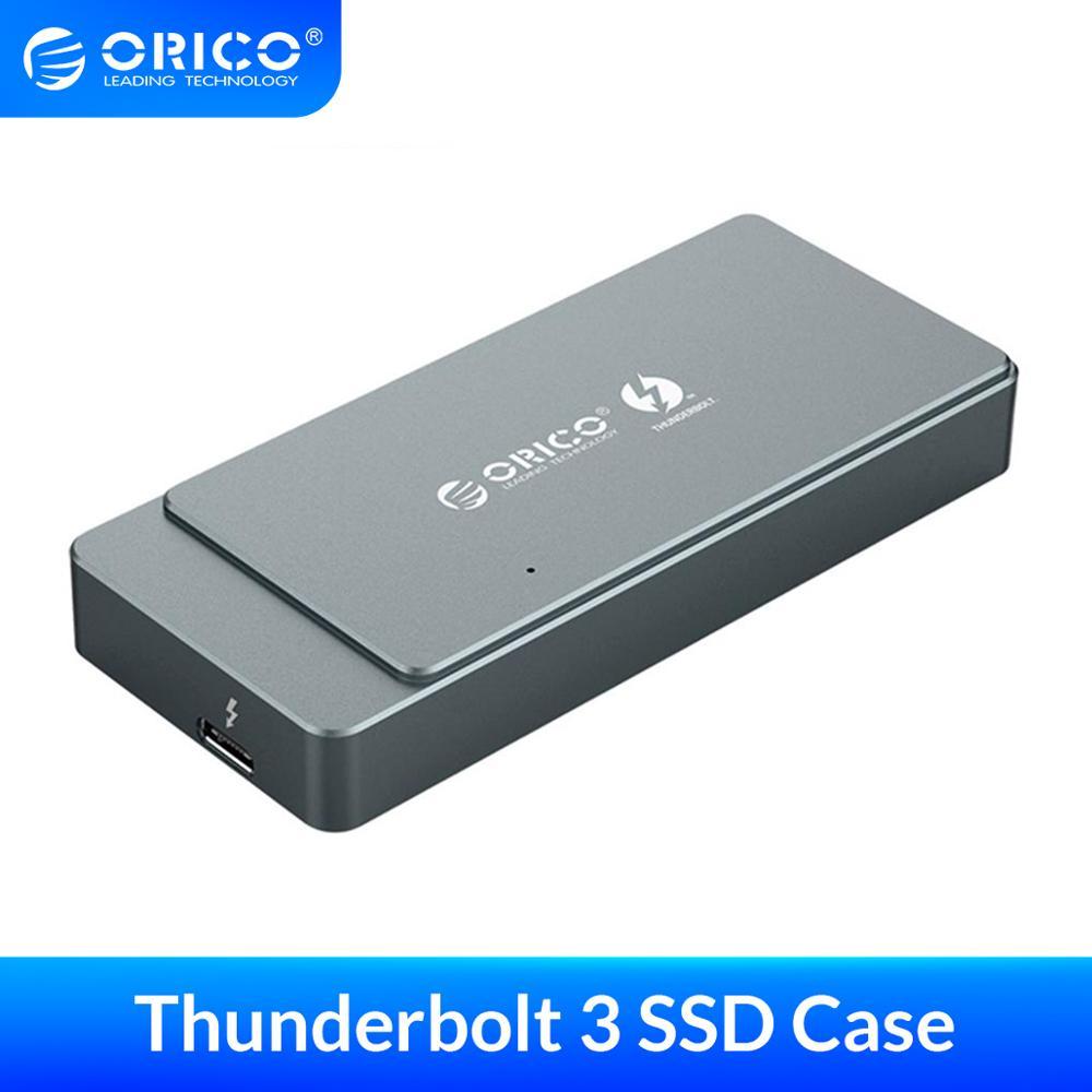Корпус ORICO M.2 NVME SSD Thunderbolt 3 40 гбит/с, чехол SSD, поддержка 2 ТБ алюминия с Thunderbolt 3 C к C кабелем для Mac, Windows