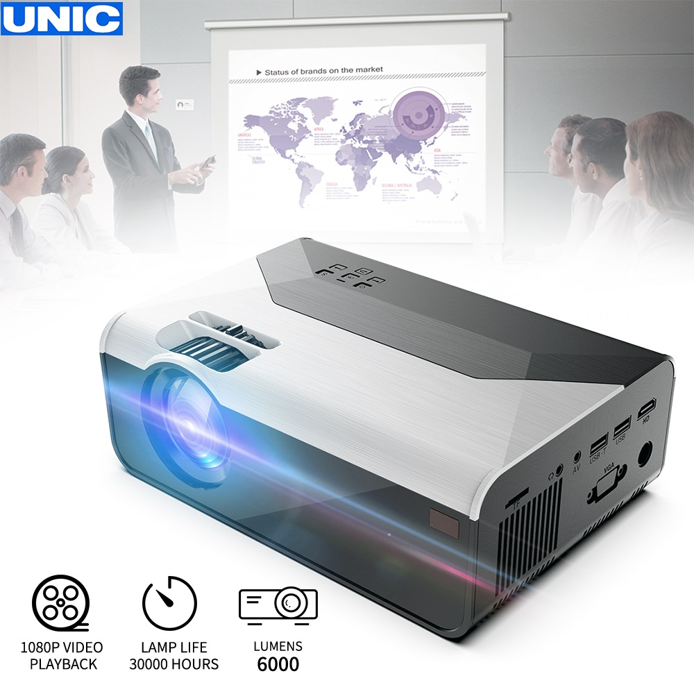 UNIC G08 150 Inch 1280x720P 6000 Lumens LCD Projector 1080P Full HD HDMI WIFI Home Theater Android Proyector Support Dolby Sound