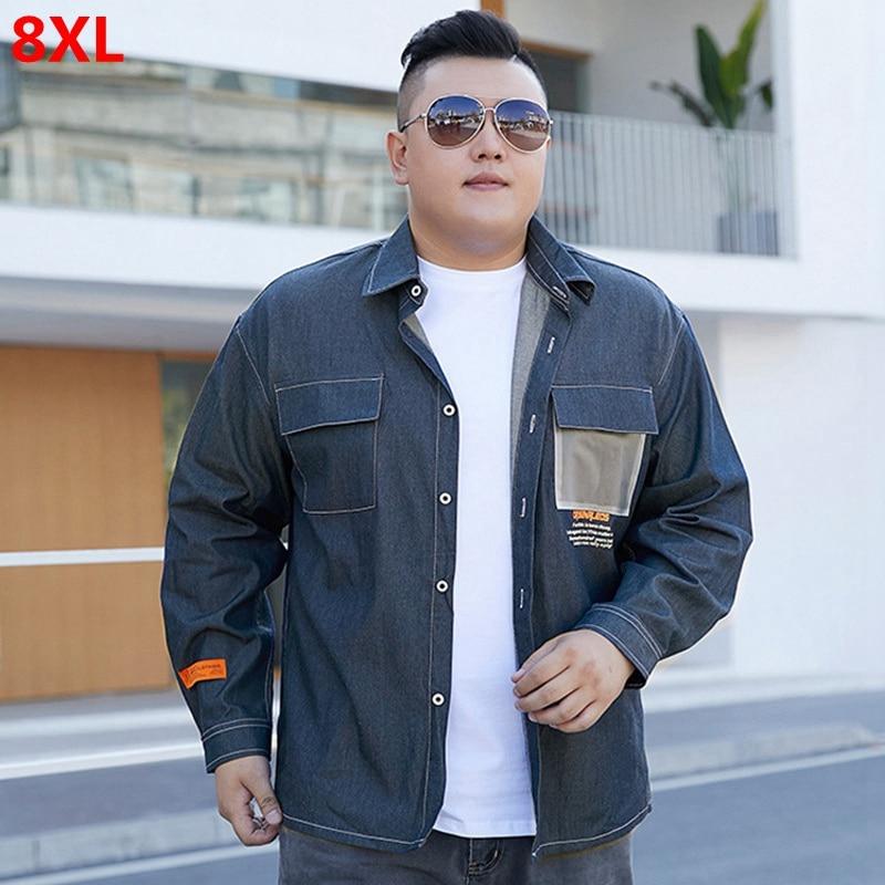 Spring Retro Denim Long Sleeve Shirt Men's Loose Shirt Oversized 8XL Plus Size 7XL Dress Shirt For Men