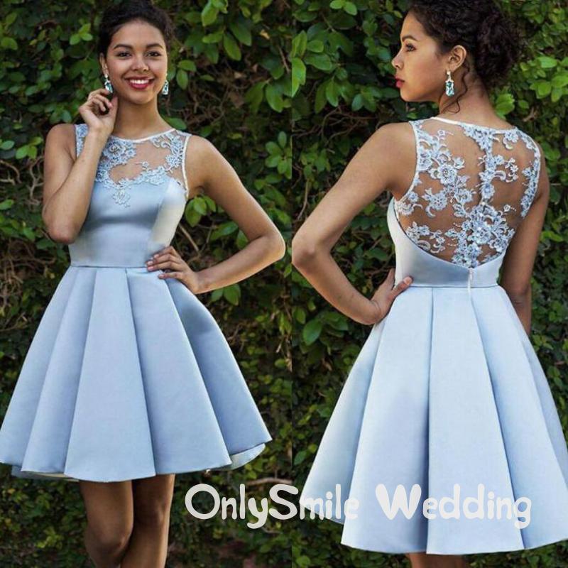 Blue Satin Short Prom Dresses Knee Length Lace Appliques A Line Charming Wedding Party Gowns Short Kleider Damen Abendkleid