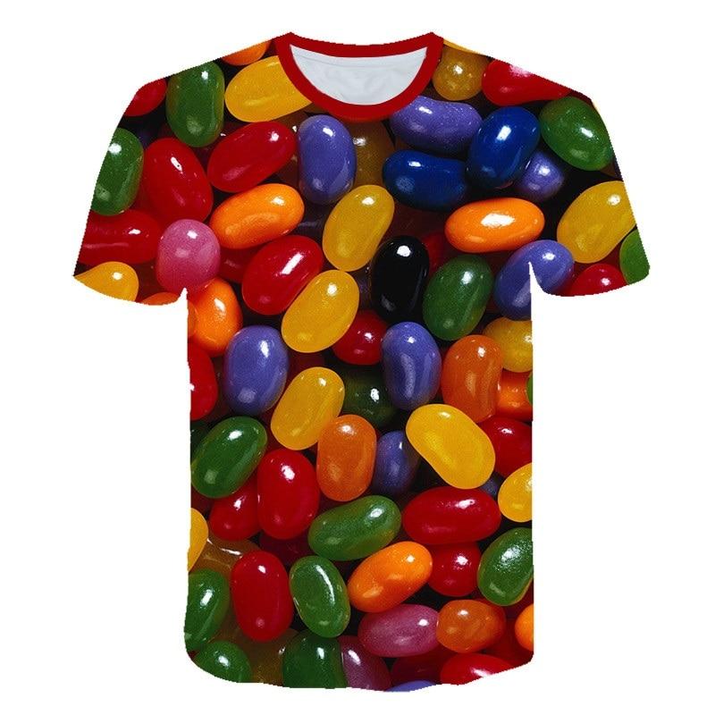 Sweet Sugar Printed T-shirt Colorful Candy 3D T Shirt Chocolate Tshirt All Over Printed 3d Food T Shirt Funny Tee Shirt 2020 Kid