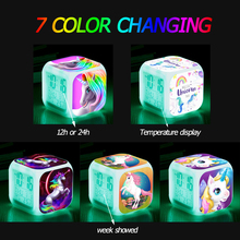 Children Cartoon Unicorn Alarm Clock 7 Led Night Light Desk Table Clocks Kids Christmas Gifts