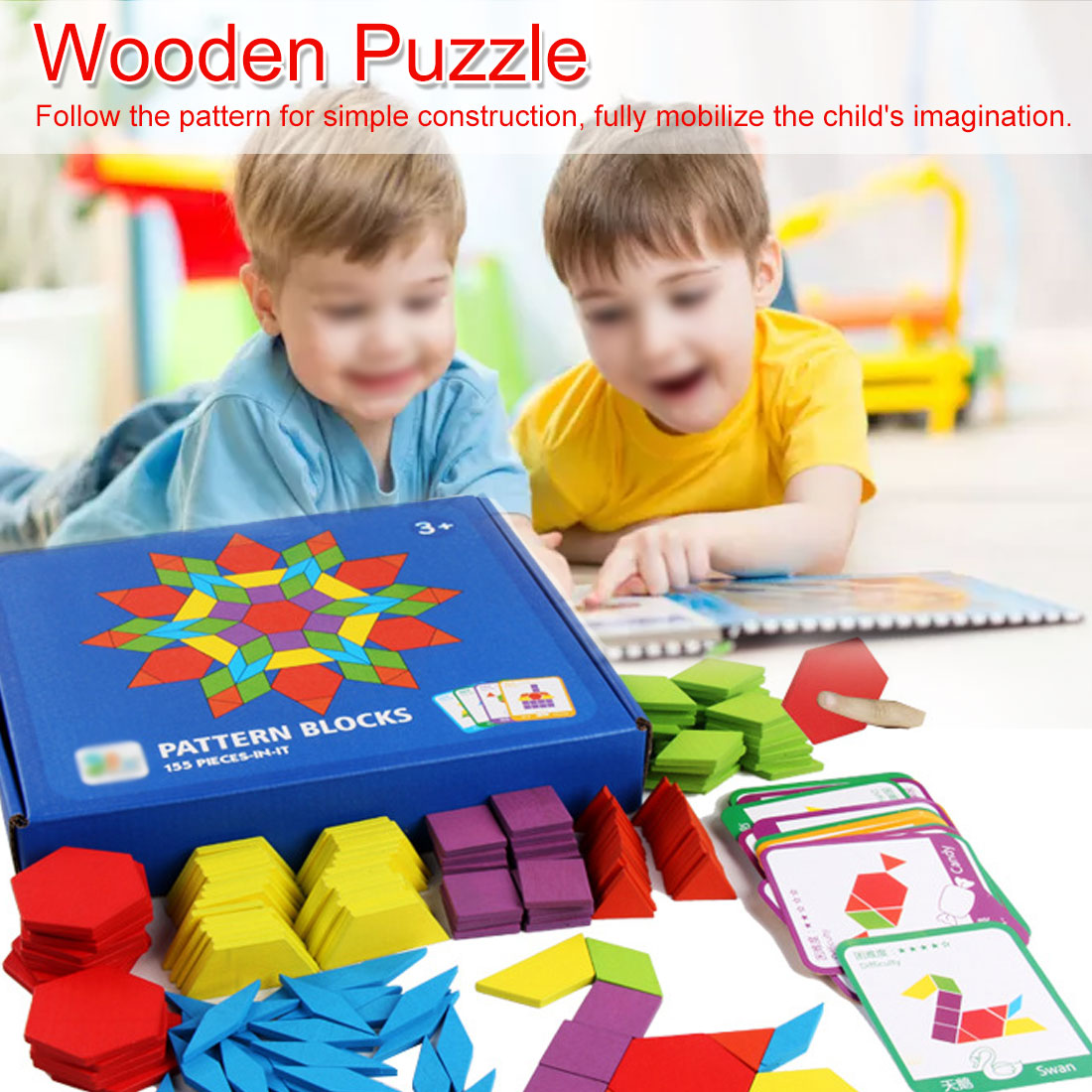 Hot Sale 155pcs Wooden Jigsaw Puzzle Board Set Colorful Baby Educational Toys for Children Learning Developing Toy