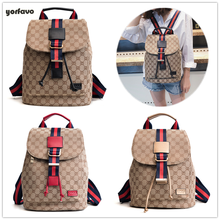 2019 Hot sale new fashion GD design women backpack color strip bags travel bags teenager school  backpack with Printed letter casual women s backpack with canvas and printed design