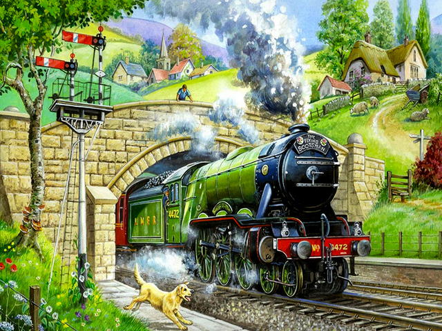Paint By Numbers Kit Age Of Steam Flying Scotsman Train Locomotive Tunnel