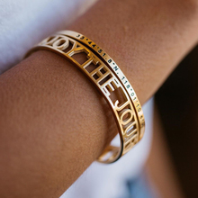 Stainless Steel Mantra Cuff Bangles Engraved Positive Inspirational Words Hollow out Alphabet Letter Bracelet Femme Bijoux