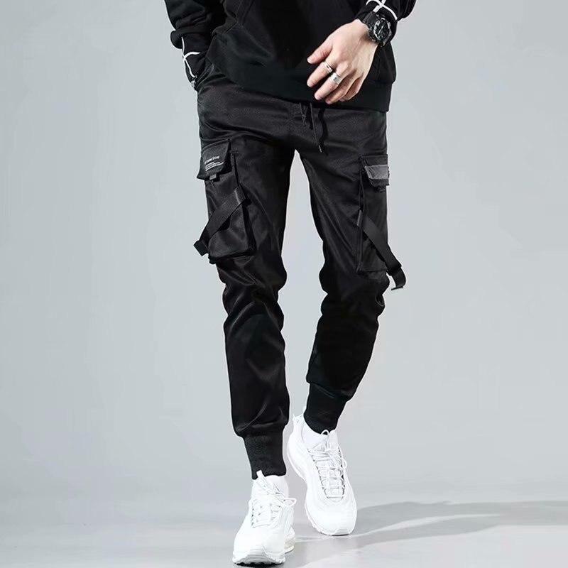 Pantalones Cargo Con Cintas Para Hombre Ropa De Calle Informal Estilo Harajuku Hip Hop Ajustados Jovenes A La Moda Pantalones Informales Aliexpress