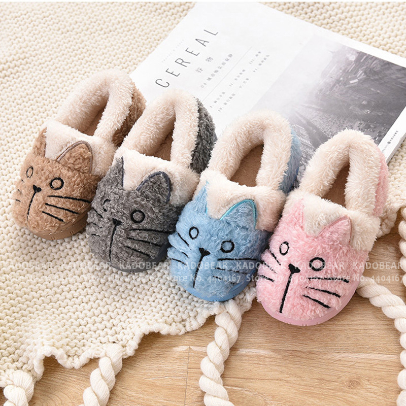 Boy Girl Home Slides Children Fur Plush Winter Warm Slippers Kids Cartoon Cat Indoor Shoes Toddler Soft Flats Fleece Flip Flops|Slippers| |  - title=