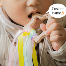 1Pcs Custom Baby Teether Wooden Webbing Animal Pacifier Pendant BPA Free Beech Rodent Baby Training Teeth Pendant Children Goods