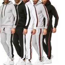 2 Pieces Autumn Winter Running Tracksuit Men Sweatshirt Sports Set Hooded Gym Clothes Sport Suit Training Wear