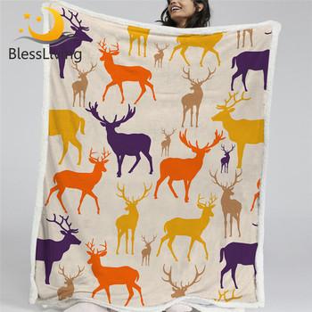 BlessLiving kolorowe Deer rzut koc miękkie puszyste koc ełk renifer pluszowe narzuty dzikie zwierzęta Sherpa koc 130x150cm tanie i dobre opinie CN (pochodzenie) Tkanina z mikrofibry Przenośne cartoon Wiosna jesień Sherpa Fleece Jakość Printed Blanket Nowoczesne