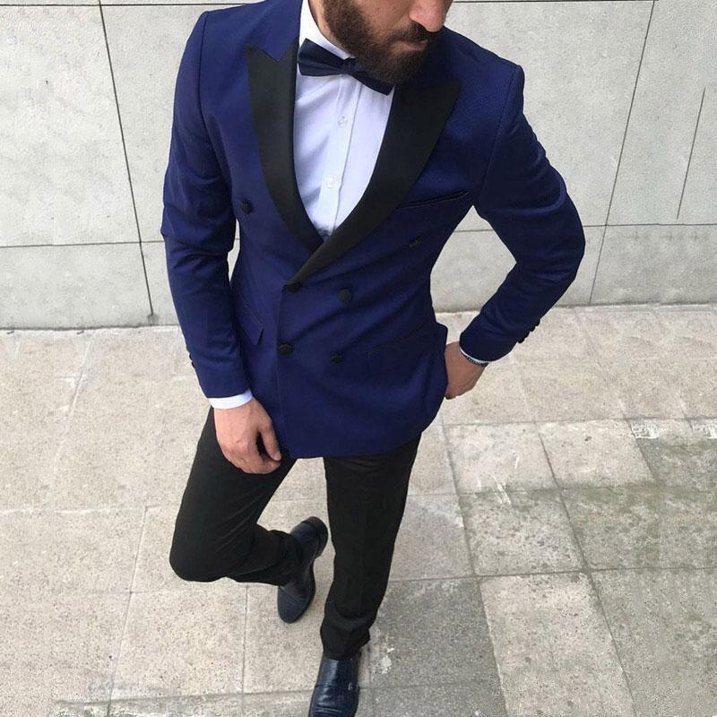 Double Breasted 2 Pieces Groomsmen Suits Wedding Costume Wedding Suits for Men Groom Suits Black Lapel Mens Suit Jacket+Pants