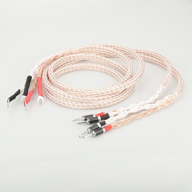 HI End 12TC Speaker Cable OCC Copper Audiophile speaker cable HIFI Banana to spade loudspeaker cable