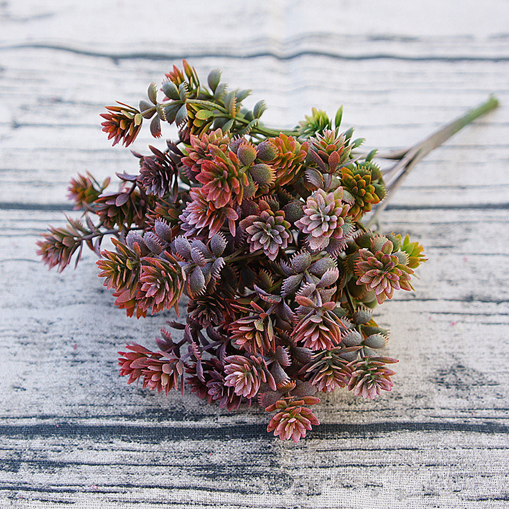 1PC Artificial Plants Plastic Succulent Plants Artificial Fall Leaves DIY Wedding Decoration Plant Fake Flower Wreath Home Decor