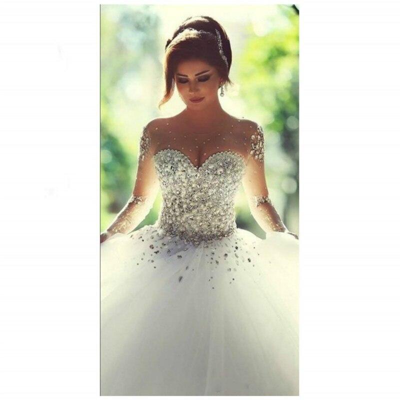 1PCS  Simple White Beaded Wedding Dress Long - Sleeved Tuxedo Bridal Wedding Dress.