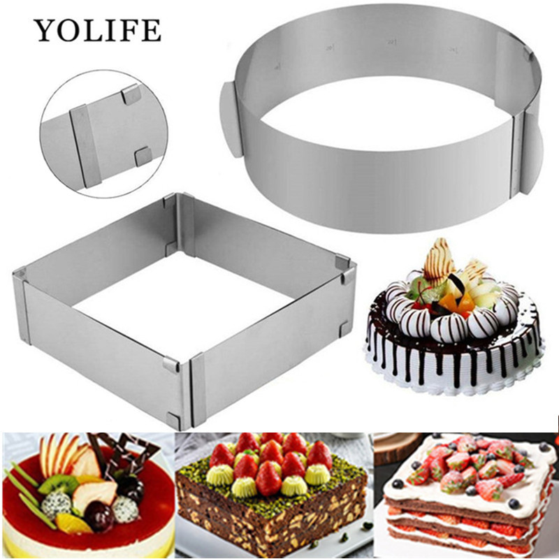 Adjustable Mousse Ring 3D Round & Square Cake Mold Stainless Steel Baking Mould Kitchen Dessert Accessories Cake Decorating Tool