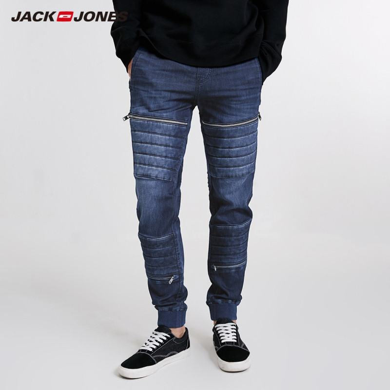 JackJones Men's Autumn Fashion Low-cut Tapered Legs Comfortable Zipper Hiphop Jeans 218332556