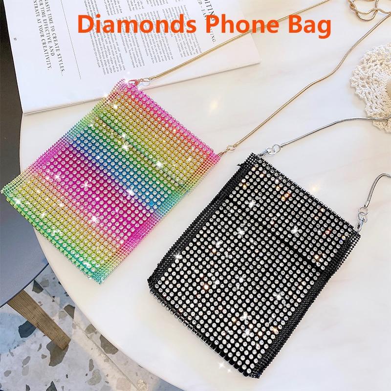 Women Luxury Flash Diamonds Phone Bag With Chain Hanging for iPhone Samsung Vivo Xiaomi Huawei Phone Pouch Crossbody Shining Bag