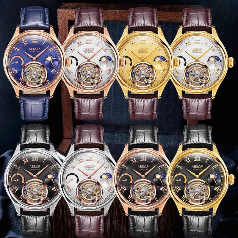 ايسوب 100% ريال توربيون ساعة الرجال الهيكل العظمي الميكانيكية ساعة القمر الياقوت الذهب العلامة التجارية الفاخرة ساعة Relogio Masculino