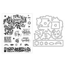 Novo 2020 corte de metal dados e selos claros scrapbooking para fazer papel natal rendas gravando quadros cartão artesanato conjunto